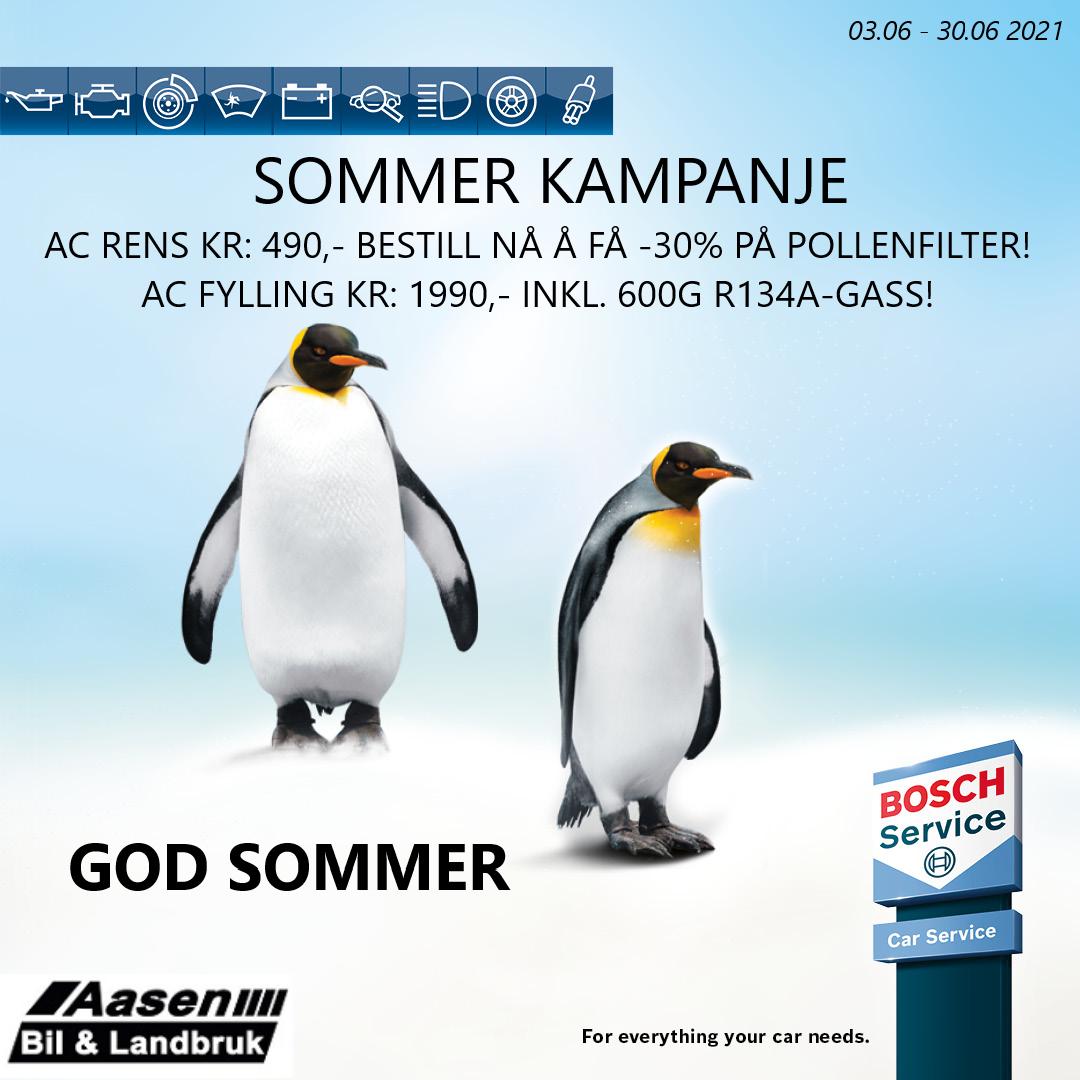 Sommerkampanje - 3. juni til 30. juni - AC Rens: 490kr, -30% på pollenfilter. AC Fylling: 1990m-, inkludert 600G R134A-gass